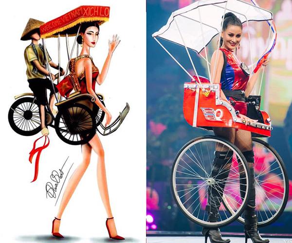 Trên các diễn đàn sắc đẹp, nhiều fan đặt bản vẽ thiết kế quốc phục Việt và trang phục thành phẩm của các thí sinh Thái cạnh nhau và thấy rõ sự tương đồng. Một trong những trang phục gây tranh cãi nhất là bộ cánh lấy ý tưởng từ xe xích lô, có cả mái che rất đặc trưng văn hóa Việt Nam.