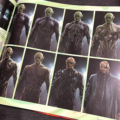 Bản vẽ quá trình người Skrull biến đổi thành Nick Fury.