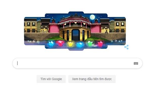 Biểu tượng Hội An thay thế giao diện chính của Google trên trang Google tiếng Việt từ sáng 16/7.
