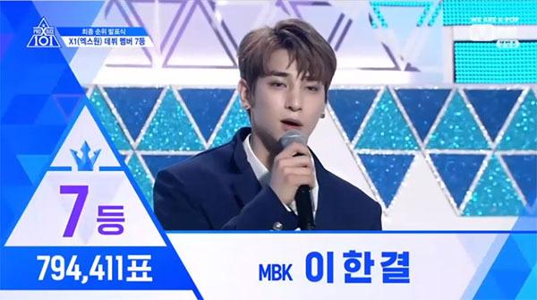 MBK có thực tập sinh thứ hai góp mặt trong dàn line-up. Lee Han Gyul debut với vị trí thứ 7 cùng 194,411 lượt bình chọn.