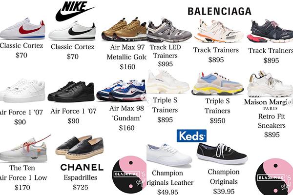 Giày thể thao của Lisa đến từ nhiều thương hiệu, sang chảnh như Balenciaga hay bình dân như Nike đều được cô nàng cập nhật.