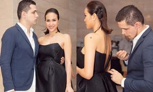 Ông xã ngoại quốc khâu váy giúp Phương Mai ở sự kiện