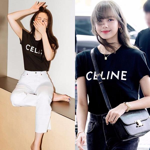 Chiếc áo classic 12,5 triệu đồng của nhà mốt Celine từng gây sốt dân tình khi được Lisa lăng xê tại sân bay Incheon vào tháng trước. Trùng hợp thay, đây cũng là item được Joy ưu ái. Nữ idol nhóm Red Velvet kết hợp quần jeans trắng tạo nên sự tương phản cho tổng thể.