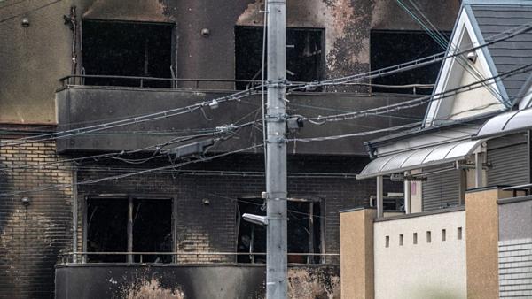 Xưởng phim số 1 hãng  Kyoto Animation sau khi đám cháy được dập tắt.