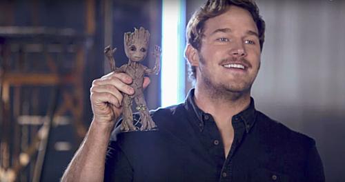 Hình nộm mô phỏng Baby Groot ở phim trường.