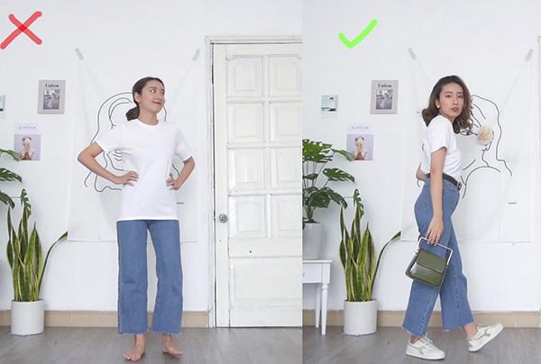 Bạn cũng có thể thay đổi một chút với quần jeans ống rộng.