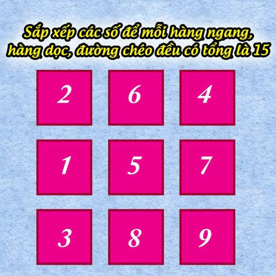 Thử tài sắp xếp các con số sao cho tổng bằng 15