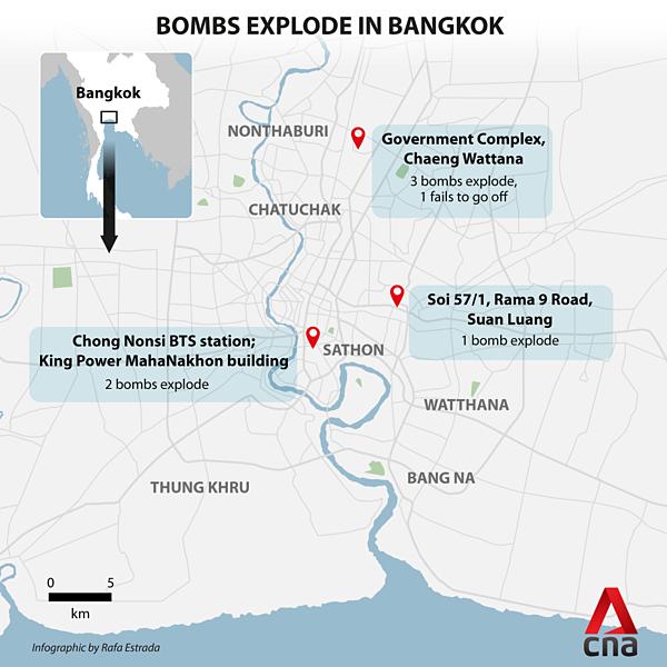 3 địa điểm thuộc trung tâm Bangkok bị đánh bom.