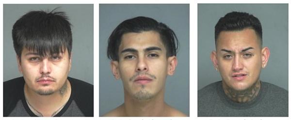 Các nghi can (từ trái sang) Arizona Victor Rene Lario, Jacob Alexander Ruiz và Joseph Anthony Ruiz, bị bắt trong vụ bắn chết nạn nhân người Việt, Phan Thiên Hoàng hôm 4/8.