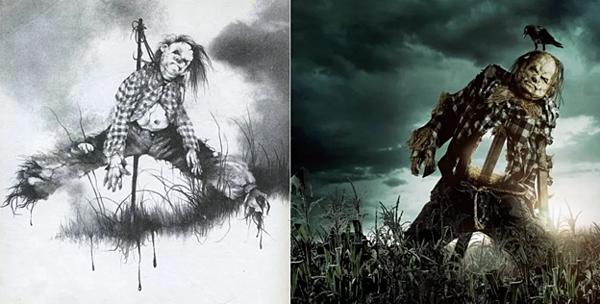 Tạo hình của gã bù nhìn Harold trong truyện (trái) và trên màn ảnh.