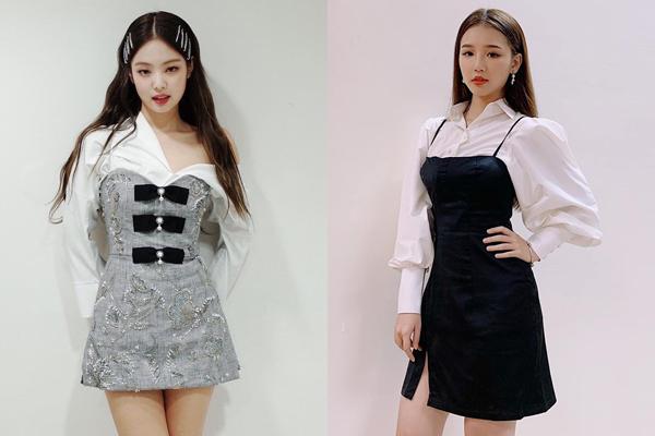 Bên cạnh những trang phục giống như sinh đôi, tân binh 10x của Vpop còn chịu sự ảnh hưởng rõ nét từ phong cách của Jennie, thể hiện qua những cách mix đồ...
