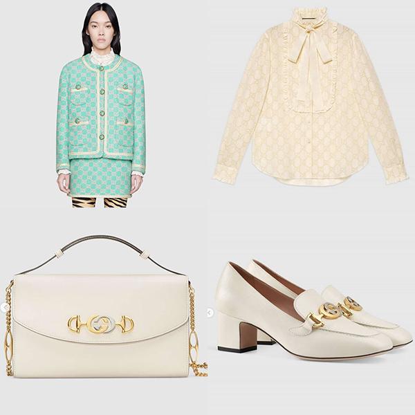 Set đồmàu xanh ngọc giúp Sulli hóa thành một nàng tiểu thư ngọt ngào đến từ thương hiệu Gucci. Bộ đồ vải tweed gồm áo khoácJacket $4,200 Shirt $1,980 Skirt $1,300 Bag $2,600 Loafer $890