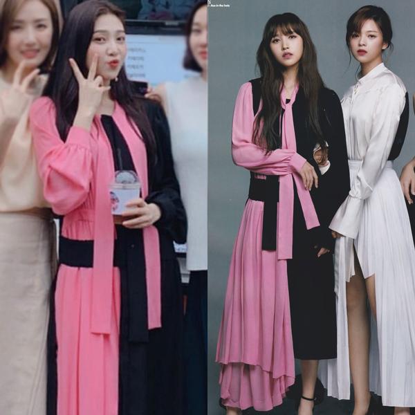 Joy (Red Velvet) và Mina (Twice) mới đây được netizen đặt lên bàn cân so sánh khi không hẹn mà cùng diện bộ cánh đen-hồng của hãng Maison Margiela giá 2.650 USD (gần 62 triệu đồng). Thiết kế này có kiểu dáng khá cầu kỳ, nhiều tầng lớp, vì thế chưa hẳn phù hợp với vóc dáng đầy đặn của Joy.