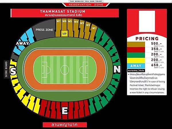Bảng giá vé vào sân xem trận đấu giữa Thái Lan và Việt Nam. Khu vực dành cho CĐV Việt Nam màu xanh da trời, giá vé cao nhất. Ảnh: Fox Sport.