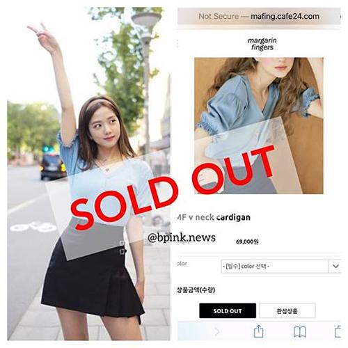 Ngoài mức giá hợp lý khoảng 1,3 triệu đồng, chiếc áo cardigan cổ chữ V cũng nhờ Ji Soo mà