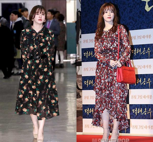 Ngoài đồ đóng bộ kiểu công sở, Goo Hye Sun còn rất ưa chuộng váy kín cổng cao tường, thiết kế tay dài che kín mít.