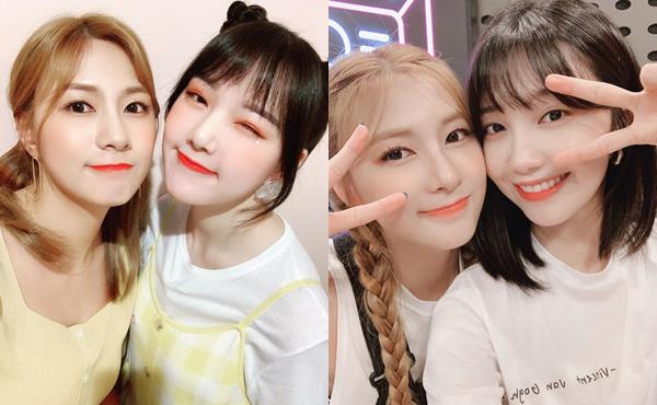 Ha Young nhận được sự cổ vũ nhiệt tình từ cô bạn Ye Rin (GFriend, váy yếm) và người chị cùng nhóm Apink - Eun Ji (tóc ngắn) khi ra mắt mini album solo đầu tay.