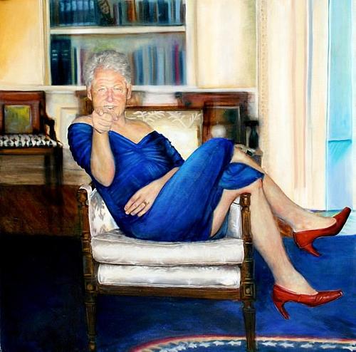 Bức tranh vẽ ông Bill Clinton trong biệt thự của tỷ phú Epstein.