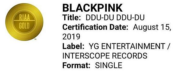 Chứng nhận Gold dành cho Black Pink trên trang chủ RIAA.