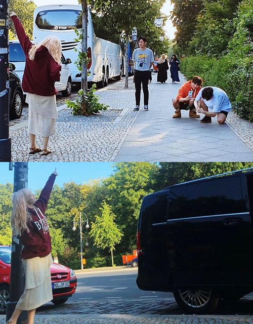 Tae Yeon được các trợ lý nhiệt tình chụp ảnh giúp.