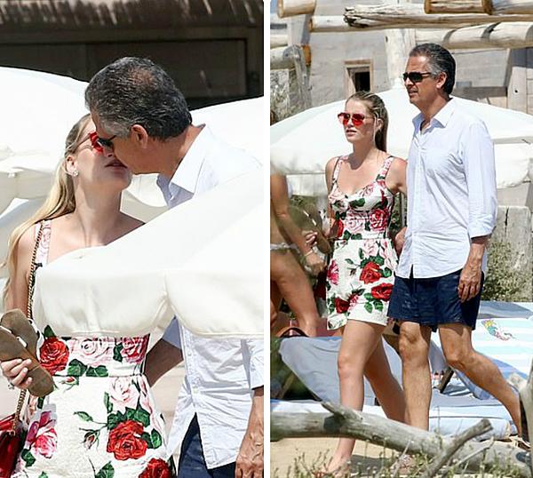Kitty Spencer và Michael Lewi tình tứ trên phố St Tropez hôm 23/8.