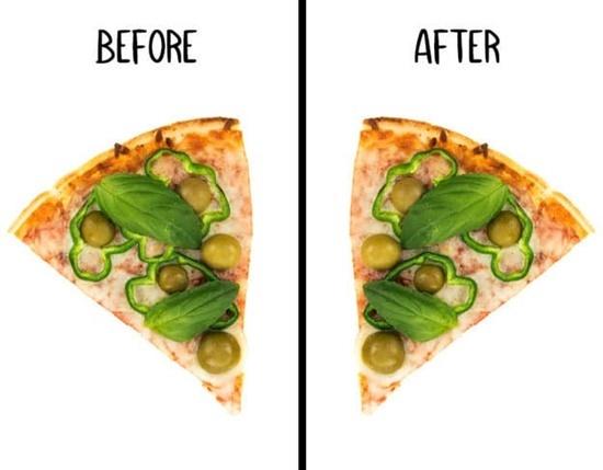 Miếng pizza này đã bị ăn vụng mất topping gì?