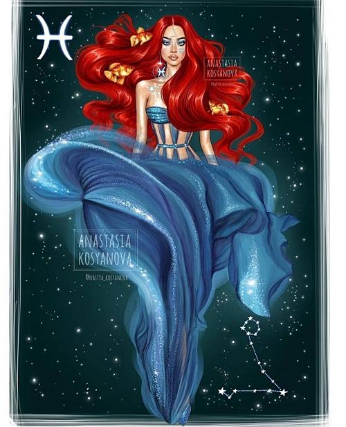 Mái tóc đỏ của Song Ngư khiến người khác liên tưởng tới nàng tiên cá Ariel xinh đẹp trong truyện cổ Andersen.