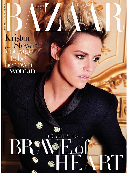 Kristen Stewart trên bìa tạp chí Harpers Bazaar số tháng 10.