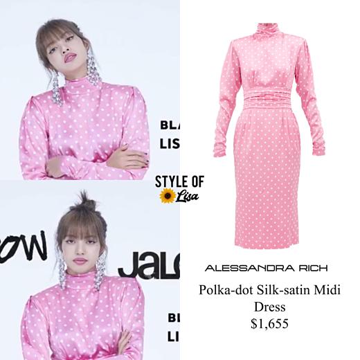 Trong một set đồ khác, Lisa diện váy midi lụa chấm bi của Alessandra Rich có giá 1.655 USD (khoảng 38 triệu VNĐ).