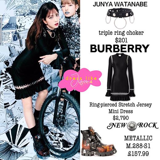 Trong set đồ chụp ảnh nhóm, Ji Soo lựa chọn mini dress màu đen của Burberry giá 2.790 USD (khoảng 64 triệu VNĐ), boots New Rock giá 157 bảng Anh (khoảng 4,4 triệu VNĐ).