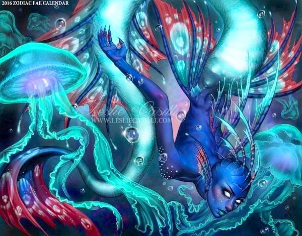 Khác với hình tượng xinh đẹp mong manh ngày thường, Song Ngư trở thành sinh vật huyền bí dưới đáy dại dương qua bàn tay của họa sĩ Enchantress-LeLe.