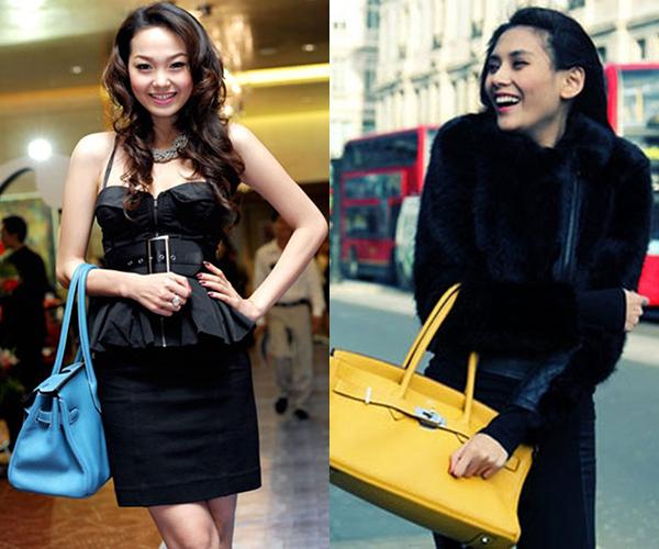 Nhiều sao Việt như Minh Hằng, Võ Hoàng Yến... cũng có một thời bị chê dùng túi fake của Hermes.