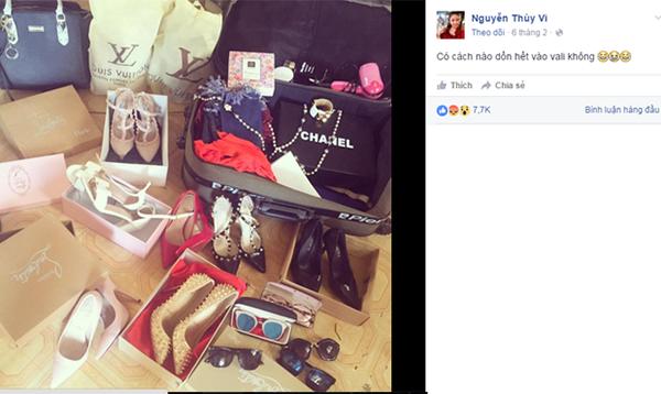 Bức ảnh khoe túi, giày từ Louis Vuitton, Chanel... của Thúy Vi bị chê trông như hàng chợ.