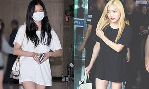 Sao Hàn khoe chân với mốt 'mặc quần như không'