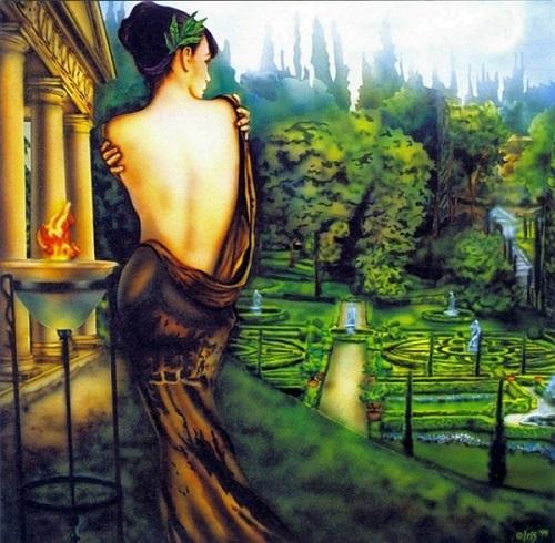 Xử Nữ trong hình dáng của một nữ thần khoe lưng trần gợi cảm.