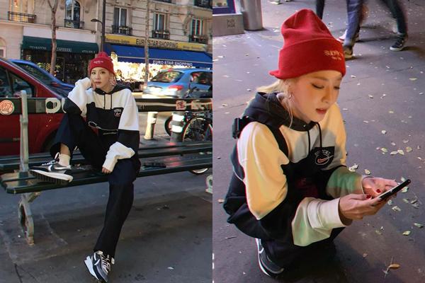 Dara khoe dáng cool ngầu trước khi phải chờ dài cổ vì đợi taxi công nghệ ở Paris.