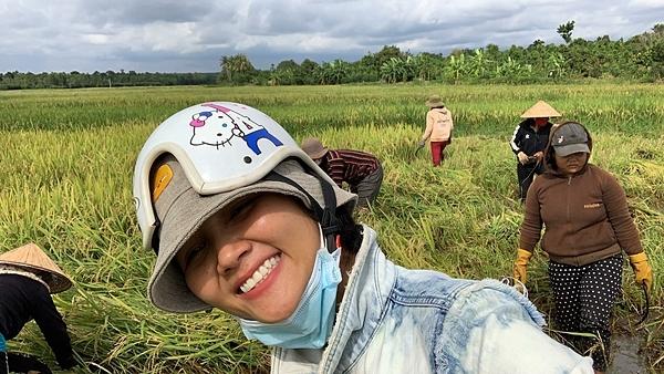 HHen Niê đi gặt lúa.