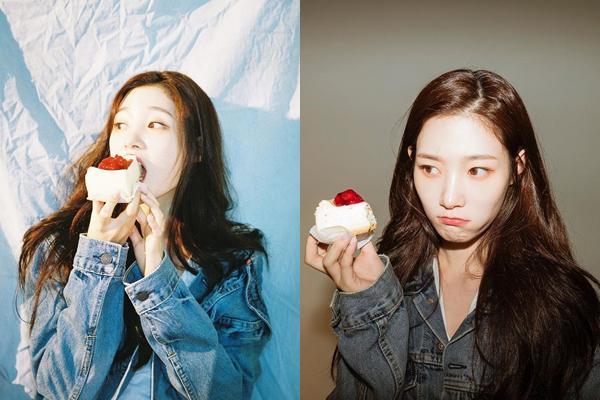 Biểu cảm biến hóa của Chae Yeon (DIA) khi ăn bánh.