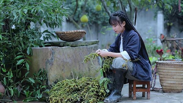 Lý Tử Thất xuất hiện trong các video với tạo hình ấn tượng nhà nông.