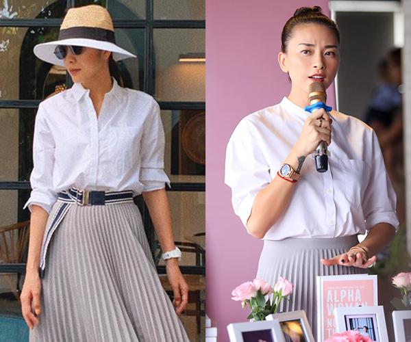 Thấy cô em diện set sơ mi trắng và chân váy ghi xếp ly quá đẹp, Ngô Thanh Vân không chỉ bình luận khen ngợi trên Facebook mà còn... đặt hàng một set đồ giống hệt.