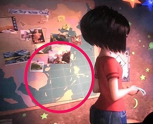 Hình ảnh bị nghi là đường lưỡi bò trong phim.