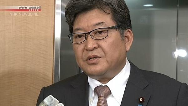 Bộ trưởng giáo dục Nhật Bản, ông Koichi Hagiuda phát biểu tại cuộc họp báo.