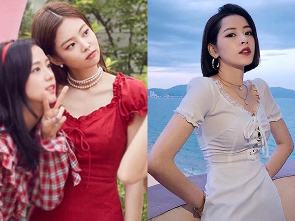 Không ít váy áo của Chi Pu giống hệt kiểu dáng trang phục Jennie diện trước đó.