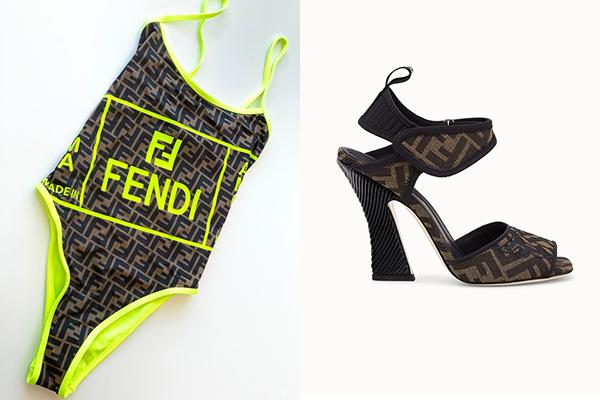thiết kế bodysuit của thương hiệu Fendi có giá bán khoảng 799 USD (hơn 18 triệu đồng) kết hợp đôi giày cao gót cùng thương hiệu có giá 990 USD (khoảng 23 triệu đồng).