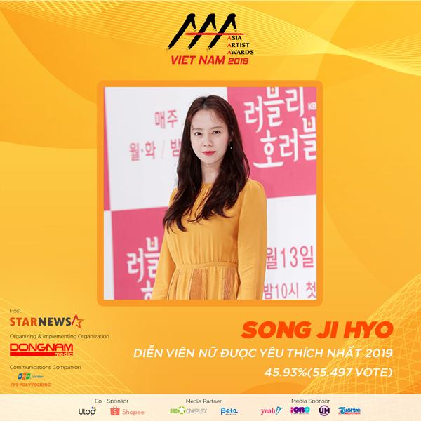 Hạng mục Nữ diễn viên được yêu thích nhất gọi tên Song Ji Hyo với hơn 55 nghìn lượt bình chọn.Cô được khán giả biết đến với các vai diễn Min Hyo-Rin trong phim Hoàng cung, Ye So Ah trong Đông Minh Vương, Oh Jin Hee trong Emergency Couple và nhiều vai diễn khác.  Cô cũng nổi tiếng khắp châu Á và nhiều quốc gia trên thế giới với vai trò là thành viên nữ duy nhất trong 7 năm liên tục góp mặt và tham gia chương trình truyền hình tạp kỹ nổi tiếng Running Man, được các fans hâm mộ show truyền hình thực tế này đặt cho biệt danh là Át Chủ Bài bởi sự thể hiện xuất sắc cùng với lòng can đảm, trí thông minh và sự nhạy bén của mình.
