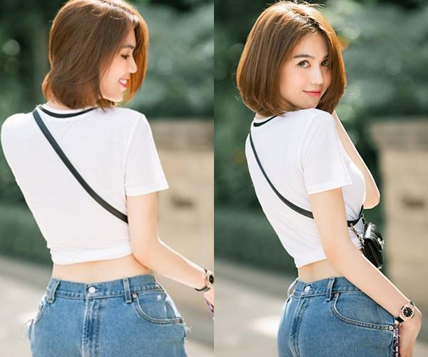 Trong hình ảnh xuống phố mới đây, Ngọc Trinh gây tò mò khi diện chiếc quần jeans lộn ngược. Không ít người lầm tưởng cô nàng mặc ngược quần từ trước ra sau.