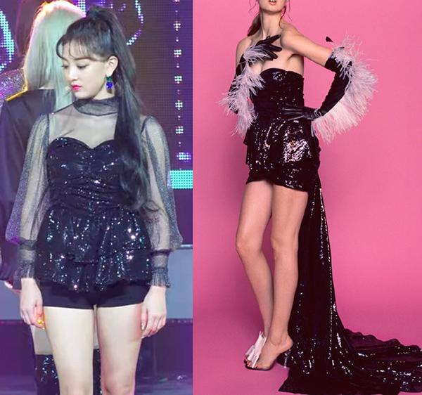 Giống như nhiều girlgroup khác, Twice cũng thường xuyên được mặc những trang phục hàng hiệu được các stylist tự biến tấu. Tuy nhiên những màn cắt ngắn váy của stylist JYP lại không được đánh giá cao như stylist của YG. Nhiều lần bộ váy 9 cô gái mặc bị chê xấu hơn cả khi chưa cắt. Thiết kế váy dạ hội giá 2.000 USD bị stylist cắt không thương tiếc, biến thành áo peplum mà Ji Hyo diện gần đây là một ví dụ.