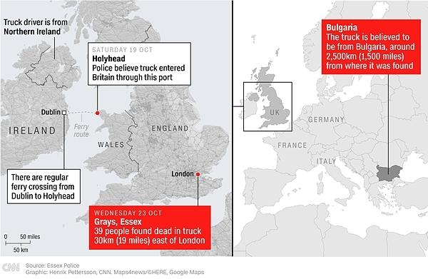 Hành trình chiếc xe tải chở 39 thi thể đến Anh. Đồ họa: CNN