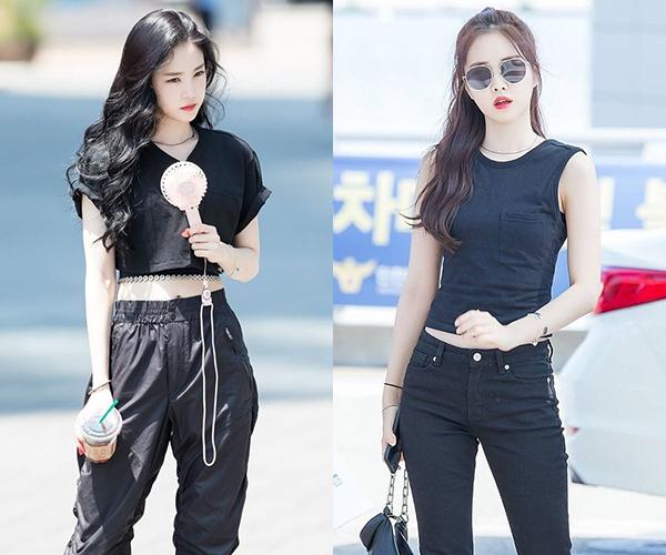 Na Eun là nữ hoàng đồ đen khi ra sân bay. Để khoe làn da trắng, vóc dáng thanh mảnh, thành viên Apink thường xuyên mặc đồ đen cả cây với kiểu dáng không thể đơn giản hơn.