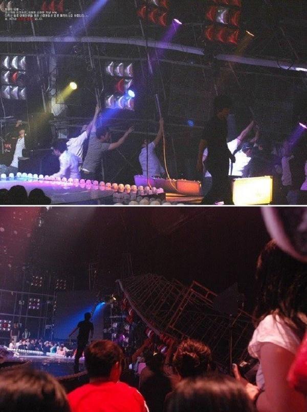 Cận cảnh dàn đèn sân khấu bị rơi.
